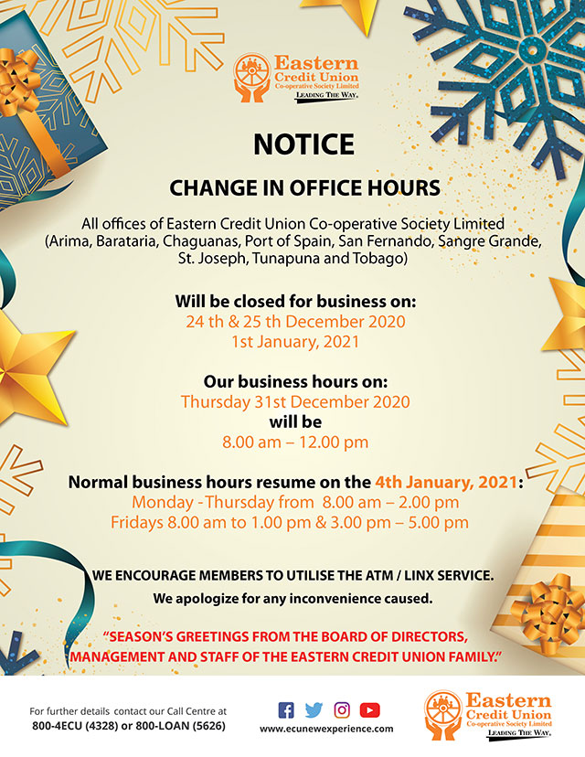 Change in Business Hours - Christmas Season