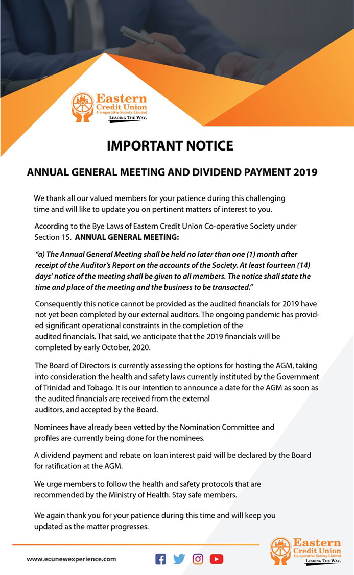 Annual General Meeting and Dividend Payment 2019 Notice